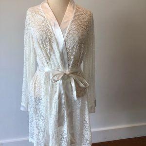 Beautiful white lace and satin robe